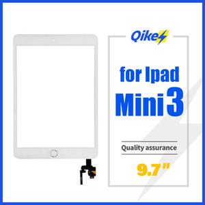 Vidrio para el iPad Mini 3 reemplazo de la pantalla táctil frontal Pantallas digitalizador con IC del conector y del botón del hogar del soporte de la cámara Adhesivo