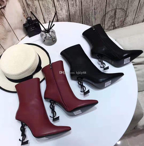 Qualidade superior de couro genuíno 2019 nova marca de sapatos sexy mulher botas sapatos de salto alto dedo apontado moda único sapatos de casamento de salto alto