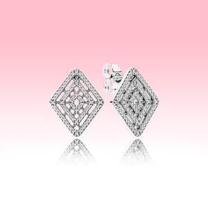 Аутентичные 925 стерлингового серебра серьги стержня Женщины Свадебные украшения для Pandora Геометрические линии роскошных серьги дизайнер с оригинальной коробке