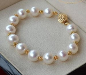 JEWELRY BRACELET HUGE NATURAL 11-12MM ROUND SOUTH SEA GENUINE WHITE PEARL BRACELET GOLD CLASP
