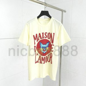 Modedesigner LuxuxMens italien Kleidung T-Shirt klassisch Katze maison Druckbuchstaben kurzen, einfaches T-Shirt lässig Baumwolle Tee oben T-Shirt