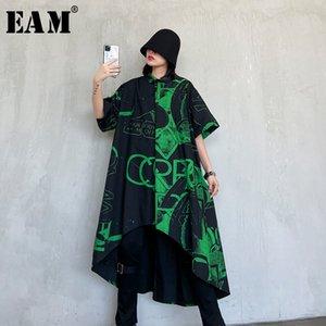 [EAM] Women preto Impresso assimétrica Big Size Vestido camisa New lapela meia manga solta Fit Moda Primavera Outono 2020 1R785