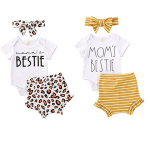 0-18M Infant Baby Girl Boy Clothes 3pcs Letter Print White Short Sleeve Romper Tops+Striped Leopard Shorts Baby Cotton Set