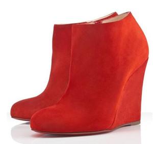 Designer clássico Belle Zeppa Ankle Boots para mulheres Red inferior Designer Bota de Luxo Winter Fashion Sapatinho Suede Leather Bottes Femme