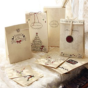 Kraft Paper Christmas Party Cookies Present Gift Bag Bag 8 Pcs Christmas Gift Bag+1xhemp rope+12pcs Sticker+2pcs Pendants