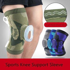 Sport genou Brace manches tricotée silicone antidérapage compression genouillères Basketball Courir Soulagement de la douleur de l'arthrite du genou protecteur