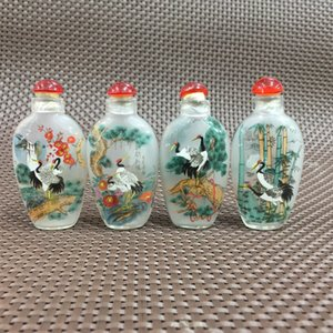 Coleccionables Rare Glass Handwork Crane Red-Crowned Antique Chinese Snuff Bottle