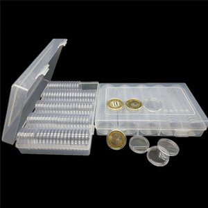 100 Pcs Small Round Clear Box Coin Holder Storage Box Display Case Container USA