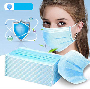 Disposable Face Mask 3 Layer Ear-loop Dust Mouth Masks Cover 3-Ply Non-woven Disposable Dust Mask Soft Breathable outdoor part mask