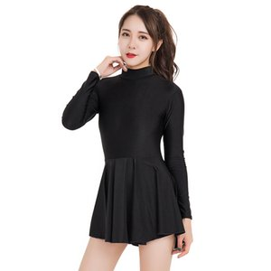 NEW arrival Women Leotards One Piece Dress Long Sleeve Leotard Ballet Dance Unitard Bodysuit Scoop Neck Gymnastics Dresses