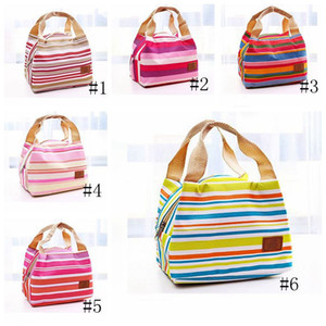 Striped Lunch Bag Protable Thermal Insulated Bento Lunch Pouch Tote Cooler Zipper Bags Outdoor Food Savers Storage Containers GGA3240-2