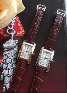 Montre de Luxe Homme Femme cas d'argent de la mode montre cadran blanc robe mouvement quartz bracelet en cuir 08-2