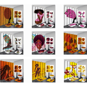 Moda Waterproof Shower Curtain Mulheres Banho Conjuntos Africano American Girl não Slip Bath Rug Define Toilet Tampa Bath Mat com ganchos L91FA