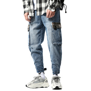 Fashion Men Baggy Hip Hop Cargo Jeans Camo Multi Pockets Cuffed Harem Denim Pants Joggers Trousers Loose Fit Washed For Male