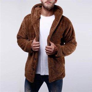 Мужские зимние Sherpa Кардиган с капюшоном Пушистый Fuzzy Coat Teddy Fleece Hoodie Поддельный Теплый вскользь фуфайки