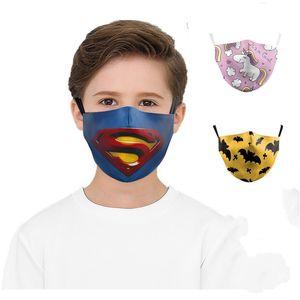 DHL Crianças Unicorn Imprimir Máscara protectora da sunproof Dustproof Cycling Sports cobrir a boca respirável Máscaras lavável Capa
