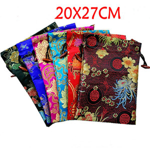 Extra Large Bright Floral Silk Favor Bags Christmas Wedding Party Gift Packaging Bags Drawstring Brocade Fabric Storage Pouch 20x27cm 10pcs