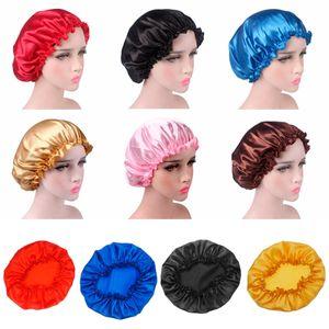 Women Sleep Cap Satin Night Bonnet Head Cover Beanie Hat Hair Beauty Elastic Bath Caps New 10colors