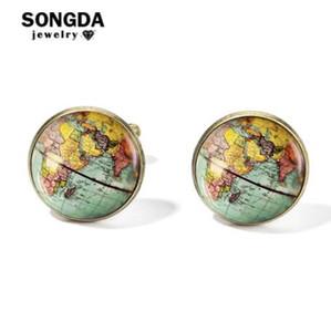 Songda Vintage-Erde-Weltkarte Manschettenknöpfe Globe Planet-Kunst-Foto-Kristallglas-Haube Hemd Manschettenknöpfe für Männer Personalisierte Gemelos