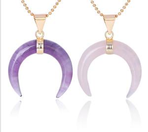 Natursteine Crescent Moon Halsketten Anhänger Lila Kristall Rosa Quarz Weiß Stein Gold Farbe Reiki Frauen Schmuck