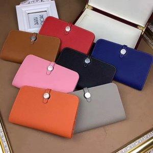 Famoso designer de marca de alta qualidade de couro novo homens mulheres carteira bolsa com titular do cartão de bolso de moedas mais cores com caixa