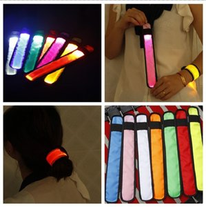 Band LED Sports schiaffo cinghia di polso Wristband Flash Light Bracciale d'ardore Armband partito Flare Strap concerto Armband Nylon 25x4cm