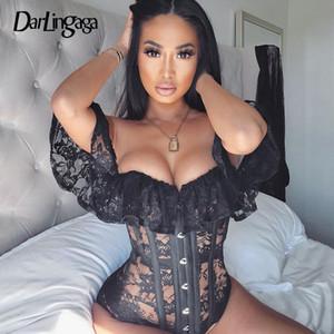 Darlingaga Alças Black Lace Corset Bustier Top Sexy Blusa Mulheres Moda Gancho Transparente Cropped Tops Blusas Magro