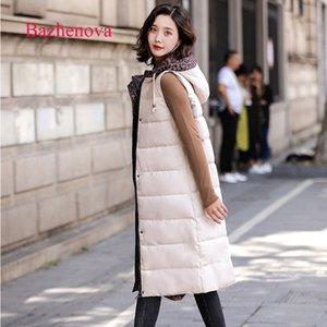 Bazhenova Kadınlar Kış Sıcak Yelek Kızlar Tatlı Kapşonlu Gevşek Katı Renk Sleeveness Gevşek Kadın Basit Casual Yelekler Giyim Tops