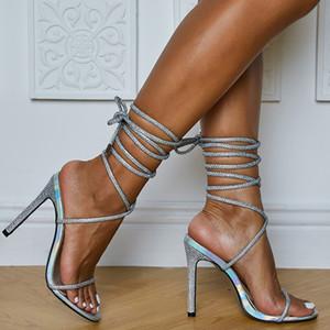 Lace Up Spring Fashion Stiletto-Kreuz-Bügel-Absatz-reizvolle Sommer-Gladiator Sandale Diskothek Strass Sandalen Frauen-Schuh-Sandelholz-freies Schiff