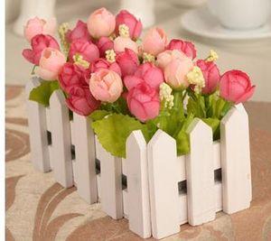 1 مجموعة 16CM سياج خشبي إناء الزهور + روز والنبات وهمية الاصطناعي زهرة ديزي مجموعة الحرير الزهور المنزل والحديقة الديكور