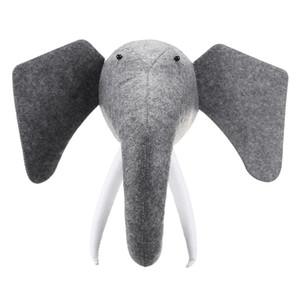3D-Filz-Tier Elephant Head Tiere Kopf Spielzeug für Kinder Schlafzimmer Wandbehänge Dekor-Grafik-Geschenke