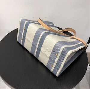 2020 Wholesale women handbag Classic stripe Canvas bag designer lady shoulder bags corss body holiday beach bag totes