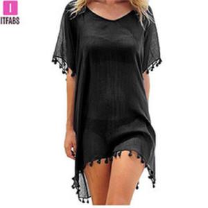 Şifon Püsküller Plaj Giyim Bayan Mayo Kapak Yukarı Mayo Yıkanma Suits Yaz Mini Elbise Gevşek Katı Pareo Kapak Ups
