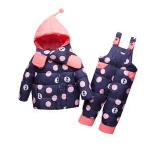 Childrens Designer Down Jacket di moda i bambini Marca Dot Stampa Imposta Bambino Spesso Zipper Set Down Jacket Top + i pantaloni della 2020 Autunno nuova tendenza calda