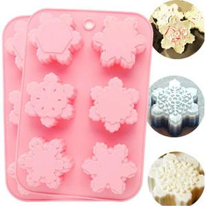4 шт силиконовые формы для выпечки мыло снежинки ручной работы торт ванна бомбы шоколад плесень, кубик льда лоток для DIY ремесло пудинг желе, 6 полости