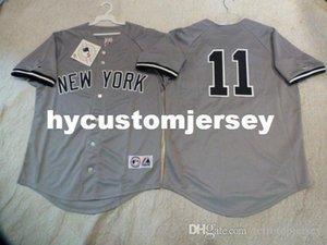 Ucuz özel GÖRKEMLİ New York BRETT GARDNER # 11 dikili Beyzbol Jersey GRİ Yeni Erkek Satılık formaları Büyük Ve Uzun SIZE XS-6XL dikişli