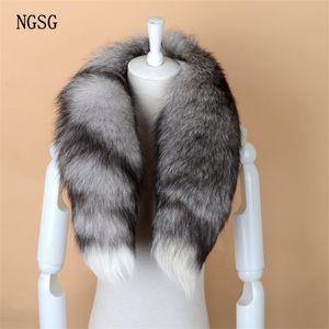Cálido NGSG real Fox bufanda de la piel de las mujeres de los hombres de rayas de invierno los 80-90CM de la cola larga bufanda de la manera collar de lujo bufandas Wraps Mujer W001 C18110101
