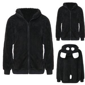 Neue design mode herbst winter plüsch niedlichen kontrast bär ohr panda hoodie mantel winter warme frauen kapuzenjacke oberbekleidung