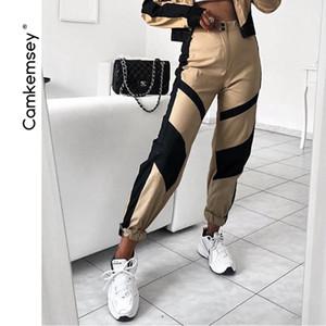 Camkemsey Streetwear Schwarz Patchwork Casual Khaki Cargo Pluderhosen Für Frauen 2019 Neue Mode Hohe Taille Jogger Jogginghose SH190719