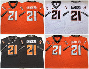 Mens 1986-1988 Retro NCAA Oklahoma State 21 Barry Sanders College Football Jerseys Top Quality IN STOCK Free Shipping