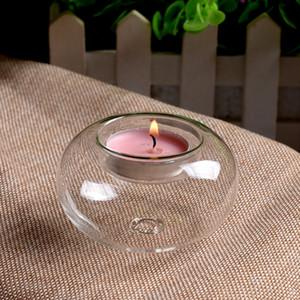 1PCS حامل جميل واضح زجاج الشاي ضوء شمعة نذري حفل زفاف الجدول هدية 8CM 10CM 12CM