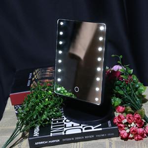 Sıcak Satış 360 Derece Dönme Dokunmatik Ekran Makyaj Ayna 16/22 Led Işıklar Profesyonel Makyaj Ayna Tablo Masaüstü ile Yukarı Ayna Makyaj