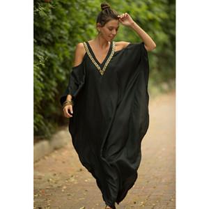 2020 Negro Mujeres Kaftan Sarong de la playa Bikini Cover Up túnica de playa vestido de Pareo del traje de baño traje de baño ropa de playa