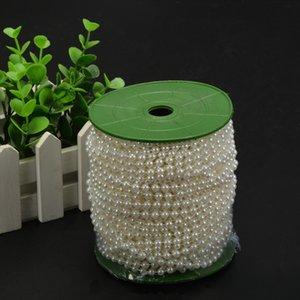 25m / roll Perla Garland 6mm Blanco / Beige Material Cuentas de flores de la boda de bricolaje decoración de Navidad Fiesta Evento SH190920