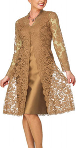 Madre del cordón por encargo de los vestidos de la novia con la longitud de la chaqueta de la rodilla cuello de la joya de la boda vestido de visitantes Plus Size madres vestidos formales
