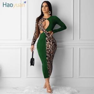Las mujeres se visten Haoyuan más el tamaño atractivo del empalme partido del club de noche caída de Leopard ropa de vestir vestidos de Midi de Bodycon de la vendimia de manga larga