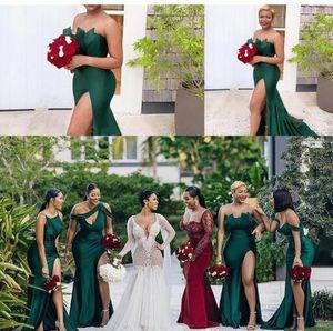 2020 Африканский Hunter Green Различные Стиль Sexy атласные вечерние платья Ruched High Side Split Long платье стреловидности Штамм Robe De Soiree