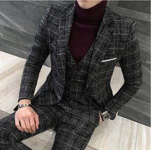 3 peças 2019 ternos homens britânicos novos estilo desenhos negros homens terno outono inverno grosso slim apto vestido de noiva xadrez smoking