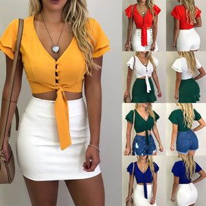 2019 new women's straps shirt Europe and the United States explosion models V-neck sexy umbilical solid color short blouse