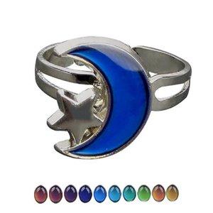 Творческое Изменение цвета Настроение Star Moon Ring Emotion Feeling переменчивый Драгоценное кольцо диапазона Контроль температуры цвета Регулируемые кольца Женщины Мужчины